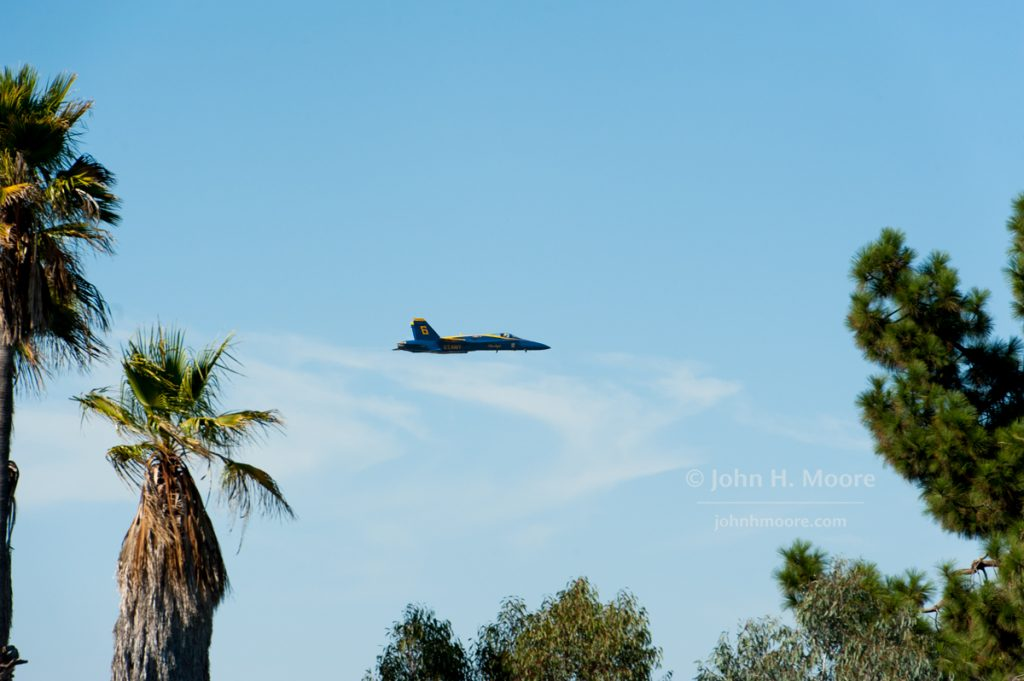 Plane 6 of the Blue Angels makes a low pass over the University City neighborhood of San Diego.  2016 Miramar Air Show.