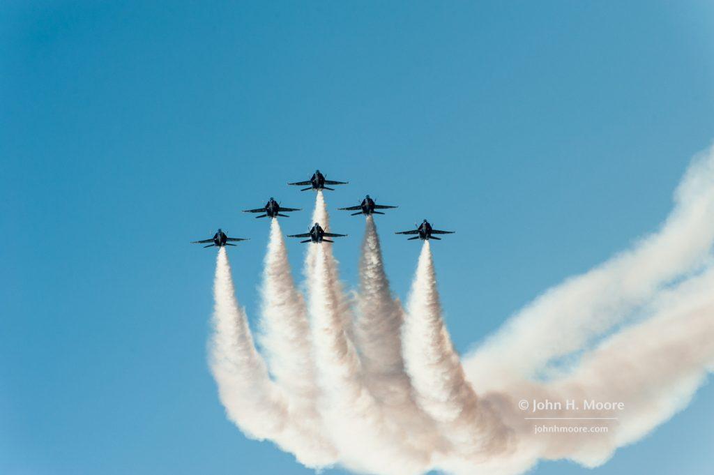The Blue Angels make smoke at the 2016 Miramar Air Show
